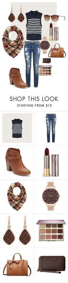 """pre fall outfit"" by alley-barnett-mejia on Polyvore featuring Abercrombie & Fitch, Tommy Hilfiger, LC Lauren Conrad, Urban Decay, Charlotte Russe, Olivia Burton, H.Azeem, tarte, MICHAEL Michael Kors and Ray-Ban"