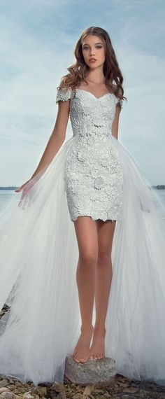 Pretty Lace & Tulle Off-the-shoulder Neckline 2 In 1 Wedding Dress With 3D Lace Appliques #weddingdress
