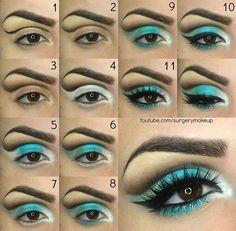 """"" Blue turquoise step by step eyes """" Ojos azul turquesa paso a paso """" Eye Makeup Steps, Eye Makeup Art, Eyeshadow Makeup, Turquoise Makeup, Turquoise Eyes, Drag Queen Makeup, Drag Makeup, Make Up Designs, Makeup Tutorials"
