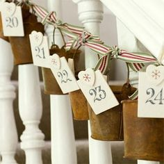 Cute advent buckets. I think these would look great on my stairs.
