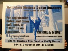 Congratulations to you for going after your dreams!  New Orleans, LA  Lakeview.  Articulate Motions Dance Academy Register now for the 2013-2014 season!!