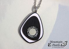 Polymer clay necklace, black & white | by mountain.pearls