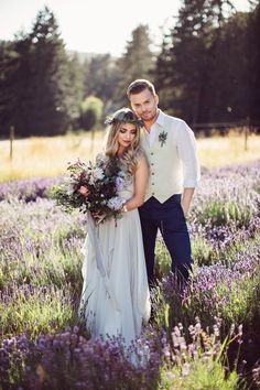 Flowing bridal gown, lavender bouquet, and flower crown | Rivkah Photography