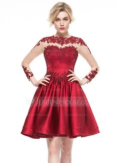 A-Line/Princess Scoop Neck Knee-Length Satin Cocktail Dress With Appliques Lace…