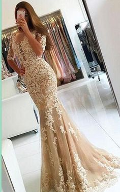 Champagne Prom Dress Sexy Long Lace Mermaid Prom Dresses 2017 New Scoop Open Back Half Sleeve Floor Length Formal Evening Gowns Mermaid Prom Dresses Lace, Backless Prom Dresses, Tulle Prom Dress, Lace Evening Dresses, Evening Gowns, Lace Mermaid, Tulle Lace, Beaded Lace, Mermaid Sweetheart