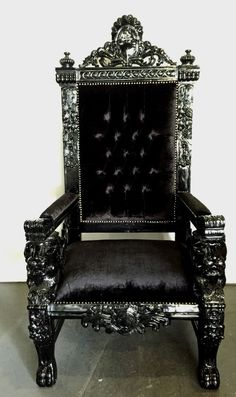 Black Gothic Throne Chair Overstock Rocking 84 Best Big Chairs Images Antique Furniture Wing Hollywood Regency Rococo Xl Lion Head King Queen