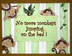 Adorable Hand painted Canvas Wall Art No More Monkeys Jumping on the Bed from SassyfrasDesignz on Etsy