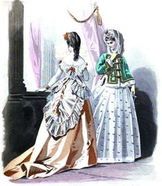 Evening ensemble with eyelet lace trim, and day ensemble with printed dress, from 'Les Modes Parisiennes,' French, 1870.