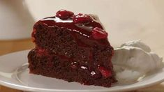Jenny's Black Forest Cake Allrecipes.com - In this video, you'll see how to make a deliciously decadent Black Forest cake. Layers of dark chocolate cake and cherry pie filling are punctuated with cherry liqueur. This amazing 5-star cake recipe was originally a caterer's.