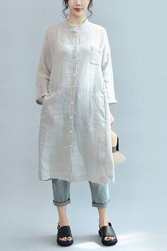 Plaid Casual Loose Long Linen Shirt Dress Women Clothes