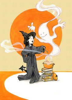 bibliolectors:  The books also serve on Halloween / Los libros también sirven en Halloween (ilustración de Keith Robinson)