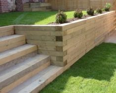 The use Railway Sleepers can make a huge difference to your landscaping project…. The use Railway Sleepers can make a huge difference to your landscaping project. Use them to create borders, walls, garden steps and Relevantly cheap to buy Sleeper Retaining Wall, Wood Retaining Wall, Garden Retaining Walls, Cheap Retaining Wall, Sleeper Steps, Sleeper Wall, Railway Sleepers Garden, Oak Sleepers, Landscape Design