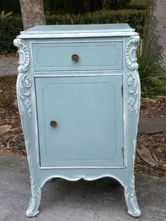 Vintage Fancy Rococo Style French Commode Annie Sloan- duck egg blue, trimmed in old white by lois Annie Sloan Chalk Paint Projects, Annie Sloan Painted Furniture, Chalk Paint Furniture, Hand Painted Furniture, Distressed Furniture, Repurposed Furniture, Furniture Projects, Furniture Makeover, Vintage Furniture