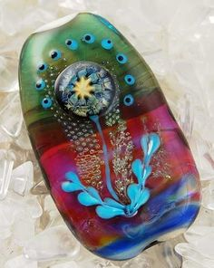Beadfairy Lampwork --- Magic Flower --- 1 Handmade Lampwork Focal Bead --SRA