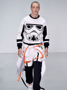 Abley, a London menswear up-and-comer, often uses Disney-licensed imagery on his designs. His character-based athletic separates—like sweatshirts emblazoned with the face of Ursula from The Little Mermaid—are a hit with the street style crowd, and they add a bit of kitsch fun to athleisure-based dressing. For spring, he was seeing Storm Troopers, Darth Vader, Chewbacca, and more.