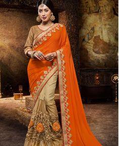 #hey @a1designerwear . Item code: APRM5442 . Buy Bewitching Orange & Beige Silk #Saree #onlineshopping with #worldwideshipping at  https://www.a1designerwear.com/bewitching-orange-beige-silk-sarees-2   . #a1designerwear #a1designerwear . #instashop #worldwide #thankyou