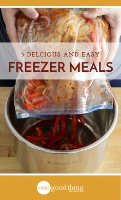 Learn how easy it is to prepare 5 different delicious freezer meals in under an hour. Cook them in your crockpot or your Instant Pot!