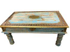 COFFEE-TABLE-Blue-Patina-Vintage-India-Antique-Furniture-distressedJaipur-Style