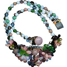 Necklace--Louis Rousselet Glass Beads Circa 1950--Made in France from rclarner on Ruby Lane