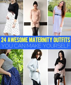 24 Awesome Maternity Outfits You Can Make Yourself - awesome ideas for upcycling old sweaters, t-shirts, men's shirts, men's blazers and on and on and on. i must try to sew...