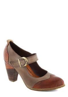 Gramophone Glam Heel - Mid, Leather, Tan, Brown, Solid, Work, Vintage Inspired, 40s, Mary Jane, Best