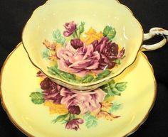 Paragon Pink Red Orange Roses Tea Cup and Saucer Teacup | eBay