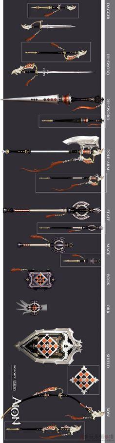 Aion2.5版高清原画分享 武器Bos...@Hawkeyn·源采集到[灵感].冷兵器+铠甲+饰品(74图)_花瓣平面设计