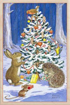 by Molly Brett Christmas Scenes, Noel Christmas, Christmas Animals, Christmas Pictures, Winter Christmas, Vintage Christmas, Christmas Crafts, Bunny Art, All Nature