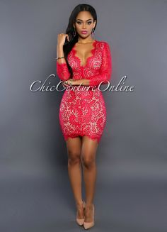 Chic Couture Online - Missy Berry Lace Nude Key-Hole Back Dress, (http://www.chiccoutureonline.com/missy-berry-lace-nude-key-hole-back-dress/)