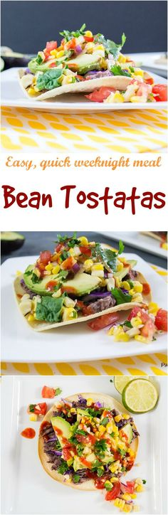 """Black bean tostadas are a simple, healthy meal ready in 15 minutes or less! Crunchy corn tortillas, easy """"refried beans"""", corn salsa and my favorite twist, sriracha! Perfect weeknight dinner idea! Vegan, gluten free, low fat"""