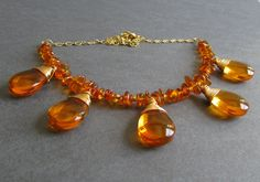 Glow Necklace (Amber) - Baltic amber, glass teardrop, and 14k satin finish gold plated necklace, bridesmaid necklaces, bridal necklace, custom colors available.