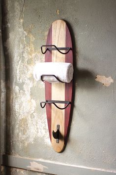 surfboard towel rack - perfect for our new home in Florida