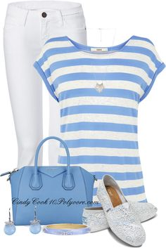 """Pale blue and white...Contest"" by cindycook10 ❤ liked on Polyvore,,sailor style,love these sparkly shoes"