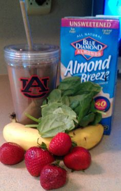 Green Monster Smoothie  - Makes one 24 oz. smoothie (130 calories):  1/2 banana, peeled, sliced, and frozen,  1 cup strawberries,  a handful (or two) spinach, 1/2 cup unsweetened vanilla almond milk,  1/4 cup to 1/2 cup water, ice  TODDLER APPROVED