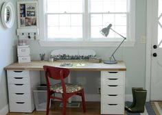 """A """"his"""" and """"her"""" workspace in our IKEA office makeover."""