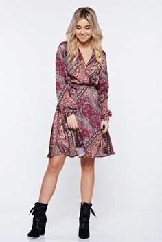 """StarShinerS elegant daily wrap around brown dress from satin fabric texture, """"V"""" cleavage, accessorized with tied waistband, wrap around, long sleeves, flaring cut, graphic print, satin fabric texture"""