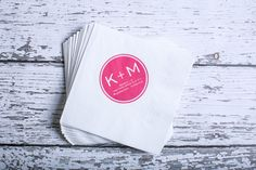 White and pink cocktail wedding napkins