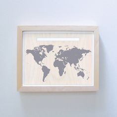 World Map & Pin Set - This would make a really sweet guestbook. Have guests pin where they are from and sign their names beside their pin. There is room in the white bar for personalized text you could put your names and wedding date.