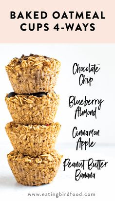 these baked oatmeal cups in your fridge or freezer for an easy, healthy breakfast! There's four different flavor options so you'll never get bored. Healthy Breakfast Recipes, Healthy Baking, Brunch Recipes, Gourmet Recipes, Cooking Recipes, Healthy Recipes, Oatmeal Breakfast Recipes, Healthy Breakfast Cookies, Yummy Breakfast Ideas