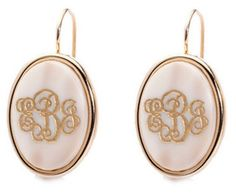 monogram gold earrings