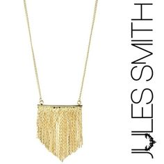 """NWT Jules Smith Bar Fringe Necklace NWT Jules Smith gold-tone fringe necklace. includes dust bag! Has lobster claw clasp. 17.5"""" long, 1.5"""" in height and 1.3"""" width. Smoke free home! Jules Smith Jewelry Necklaces"""