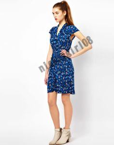 New French Connection Blue Dress Electric Meadow Jersey Floral School 6 | eBay