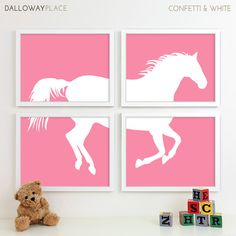 Kids Art for Children, Baby Nursery Decor, Farm Animal Nursery Horse Art Print, Pony Nursery Wall Art Equestrian Playroom Decor - Four 11x14
