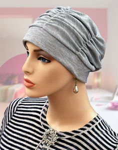Grey Shirred Cap