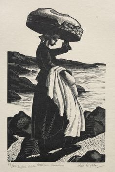 Corsican Washer Girl by Clare V Leighton Rockwell Kent, Norman Rockwell, Gravure Photo, Woodcut Art, Art With Meaning, Girl In Water, Cleveland Museum Of Art, Art Carved, Commercial Art