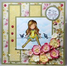 One Stamping Fool Sugar Nellie Funky Kits Gorjuss Fun Fold Cards, Cute Cards, Vintage Scrapbook, Scrapbook Cards, Diy Christmas Cards, Card Tags, Scrapbook Supplies, Baby Cards, Flower Cards