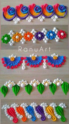 Easy Rangoli Designs Videos, Simple Rangoli Border Designs, Easy Rangoli Designs Diwali, Rangoli Designs Latest, Rangoli Designs Flower, Free Hand Rangoli Design, Small Rangoli Design, Rangoli Ideas, Colorful Rangoli Designs