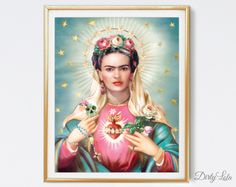 Saint Frida Art Print. This painting pays homage to Frida Kahlo and Dios de los Muertos. Colorful and vibrant this painting celebrates Fridas life and makes for great home decor!  This is a high quality art print of my original digital painting.  Available in three sizes: 8x10, 11x14, or 16x20 inches.  The 8x10 and 11x14 prints will be printed on 110 lb. matte cover stock.  The 16x20 inch prints can only be printed on Lustre Glossy Paper. (Shipped in cylinder photo mailer only)  Watermark…