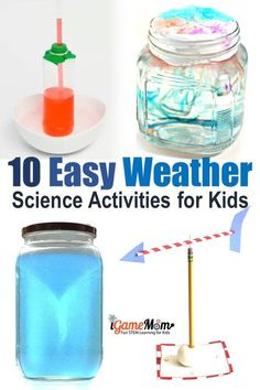 Weather science experiments for kids, easy simple hands-on STEM activities for science class science camp: create rainbow, cloud in a jar, tornado, thunderstorms and rain… Fun weather activities all students love - Kids education and learning acts Experiments For Kids Easy, Weather Experiments, Weather Science, Weather And Climate, Stem Science, Preschool Science, Science For Kids, Science Today, Weather Unit