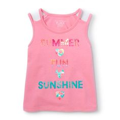 Toddler Girls Sleeveless Double Strap Embellished Graphic Top